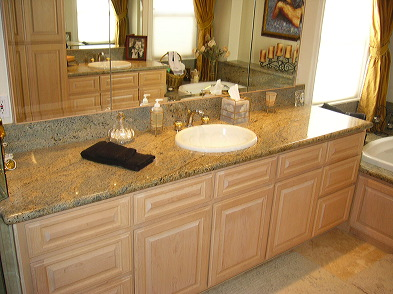 Bathroom Remodel Whitewashed Maple Cabinetry Granite Tops And Tub Surround